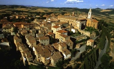 Pienza Italy daytime aerial view